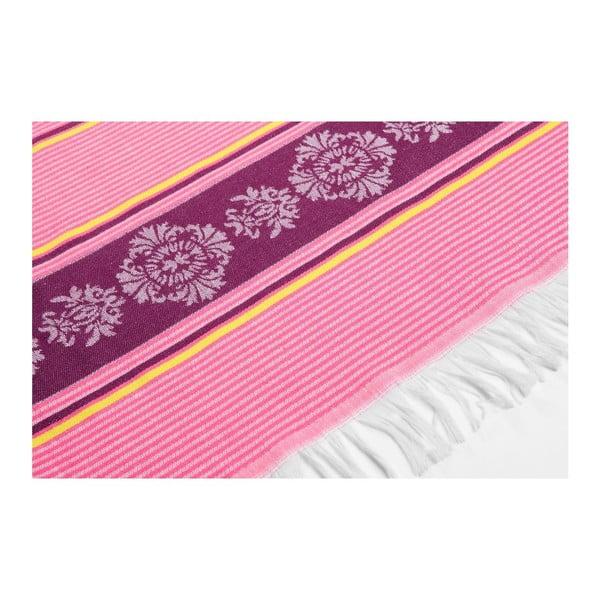 Ružovo-fialová hammam osuška Deco Bianca Loincloth Pink Stripe, 80x170cm