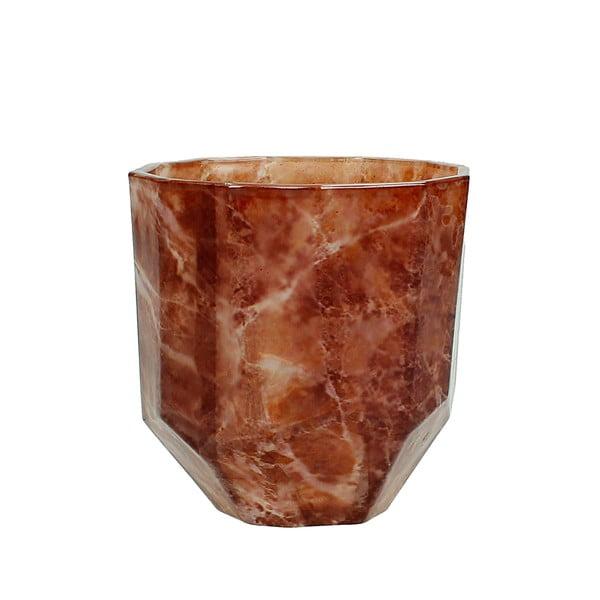 Červená sklenená váza s dekorom mramoru HF Living Hannah