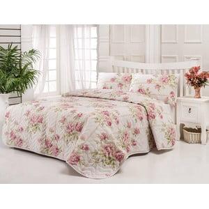 Sada prešívanej prikrývky na posteľ a dvoch vankúšov Firuze Pink, 200x220 cm