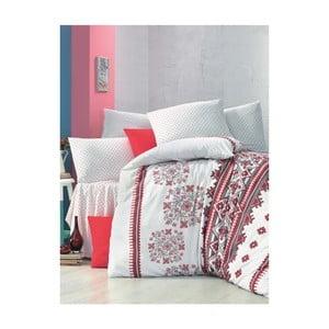 Červeno-biele obliečky a plachta na dvojlôžko Mira, 200 x 220 cm