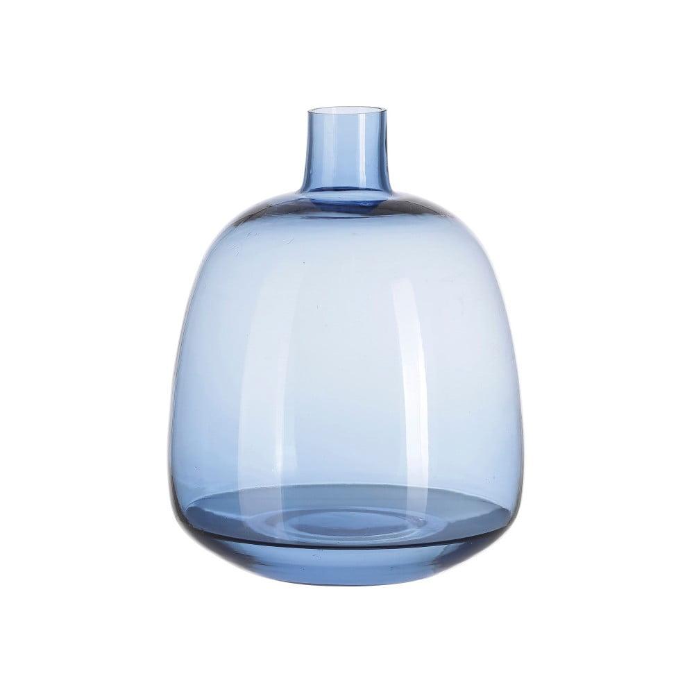 Modrá sklenená váza A Simple Mess Aege, výška 22 cm