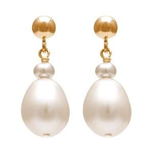 Zlaté náušnice s bielou perlou GemSeller Lente
