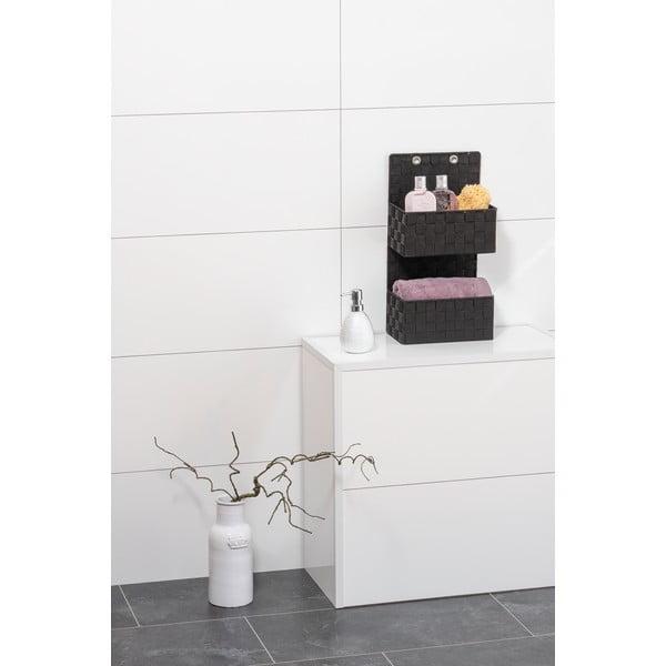 Čierny dvojitý kúpeľňový organizér Wenko Adria