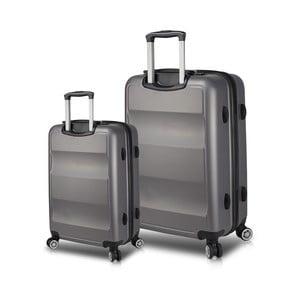 Sada 2 sivých cestovných kufrov na kolieskach s USB porty My Valice LASSO Cabin & Large