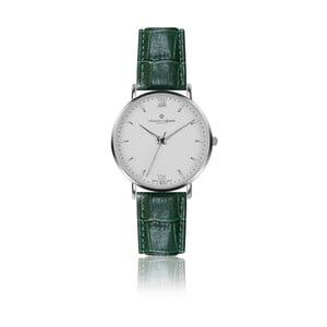 Pánske hodinky s tmavozeleným remienkom z pravej kože Frederic Graff Silver Dent Blanche Croco Dark Green