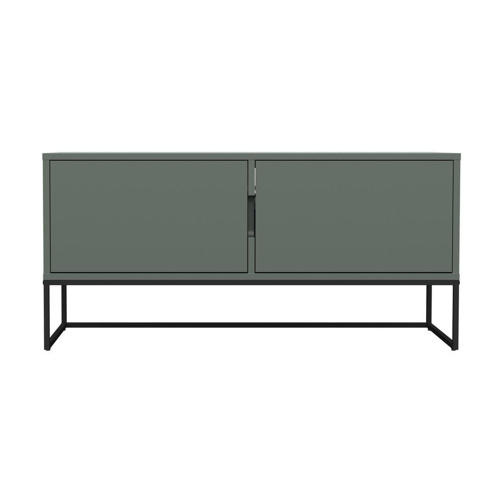 Zelený dvojdverový TV stolík s kovovými nohami v čiernej farbe Tenzo Lipp, šírka 118 cm