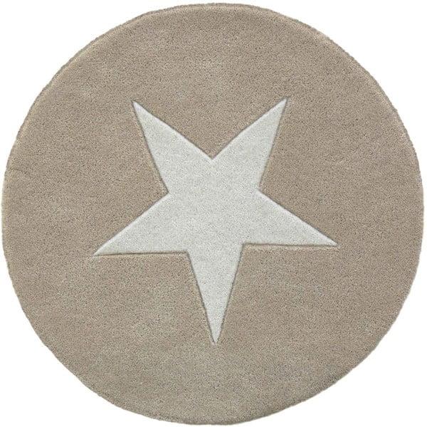 Vlnený koberec Star Beige, 130 cm
