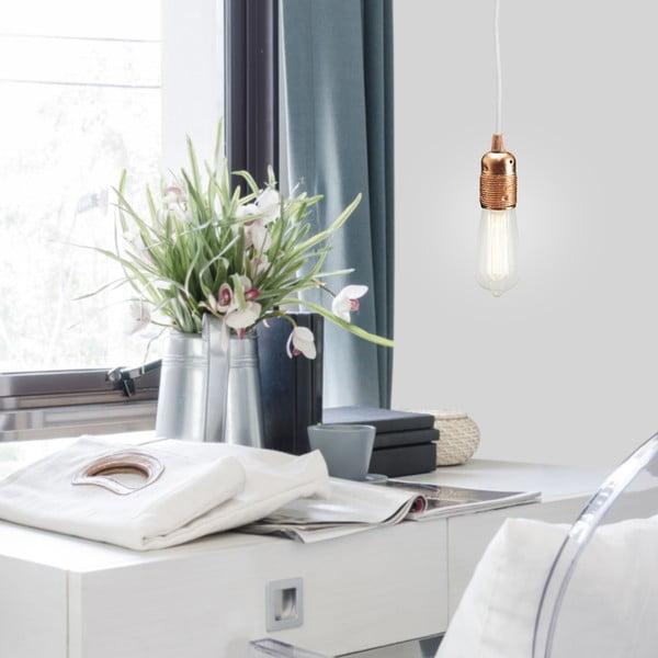 Závesné svietidlo s bielym káblom a medenou objímkou Bulb Attack Uno