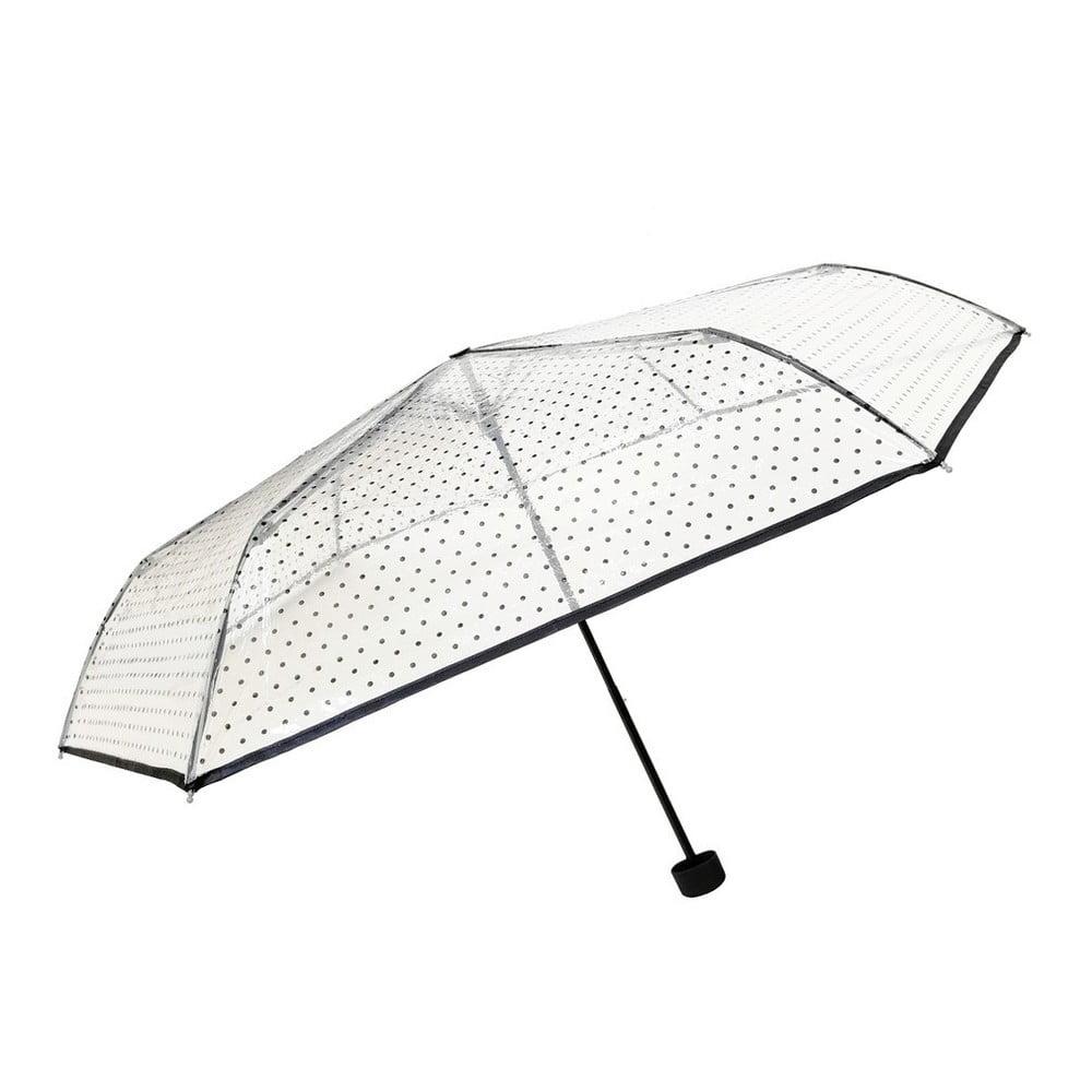 Transparentný skladací dáždnik Ambiance Black Polka Dots, ⌀ 97 cm