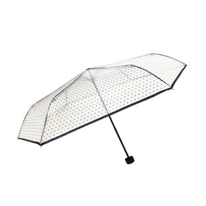 Transparentný skladací dáždnik Ambiance Black Polka Dots, ⌀97cm