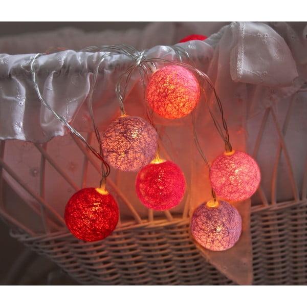 Ružová svetelná LED reťaz Best Season Crystal, 10svetielok