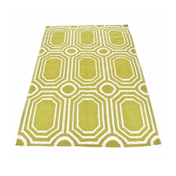 Vlnený koberec Geometry Abstract Pea Green, 160x230 cm