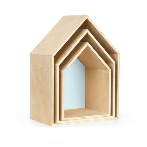Sada 3 modrých poličiek v tvare domčeka Little Nice Things Casa