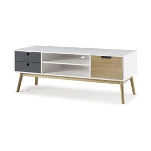 Biely TV stolík z borovicového dreva s kontrastnými zásuvkami SOB Van