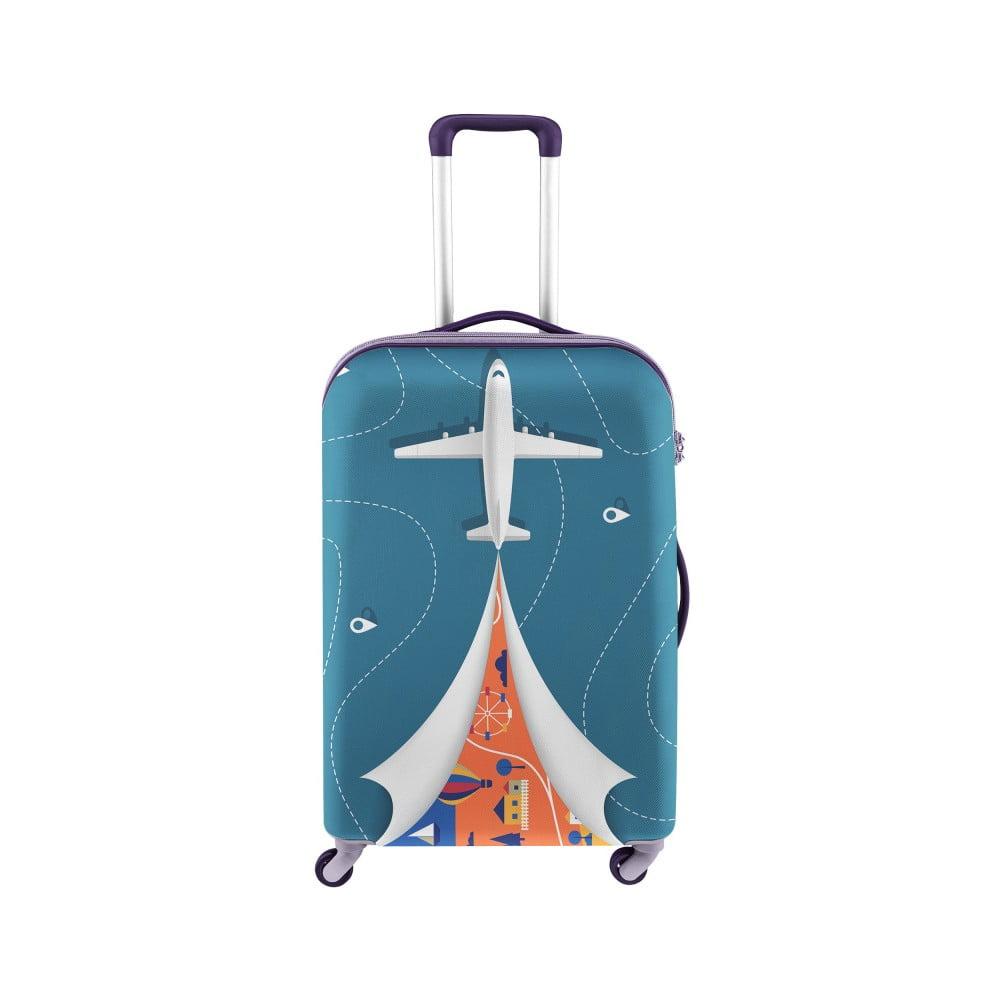 Modrý obal na kufor s motívom lietadla Oyo Concept, 67 × 43 cm