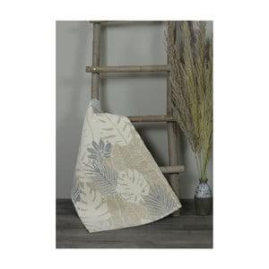 Béžová bavlnená kúpeľnová predložka My Home Plus Leafs, 51×76 cm