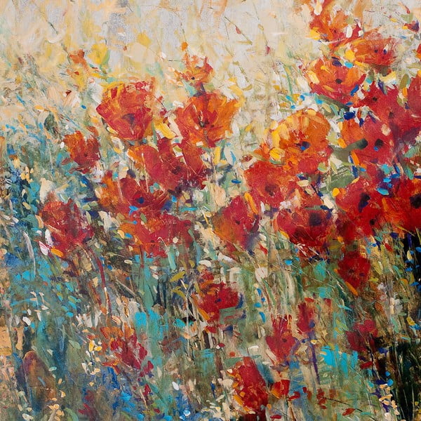 Obraz Red Poppy Field, 55x55 cm