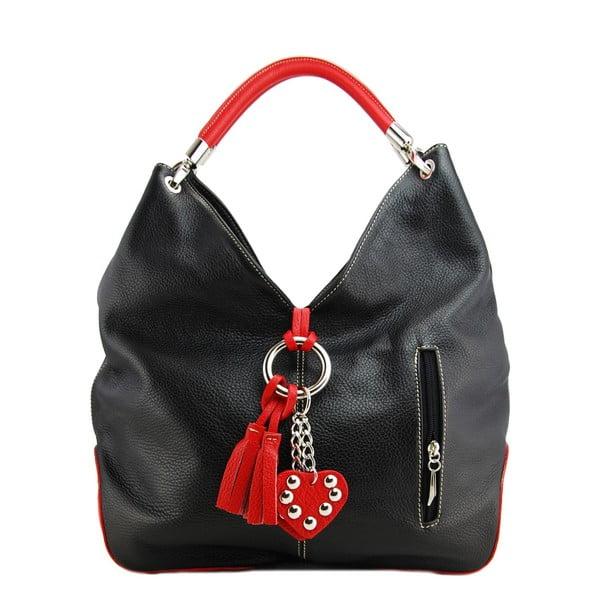 Kožená kabelka Diona Nero/Rosso