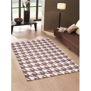 Vysokoodolný kuchynský koberec Pied de Poule Brown, 60x220 cm