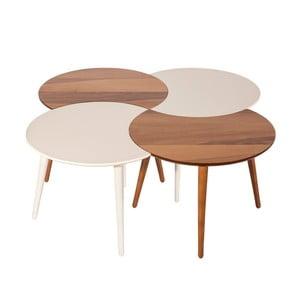 Biely konferenčný stolík s dreveným dekórom Monte Windy