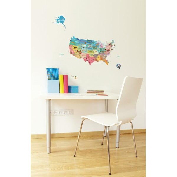 Veľká samolepiaca mapa USA Ambiance, 50 x 70 cm