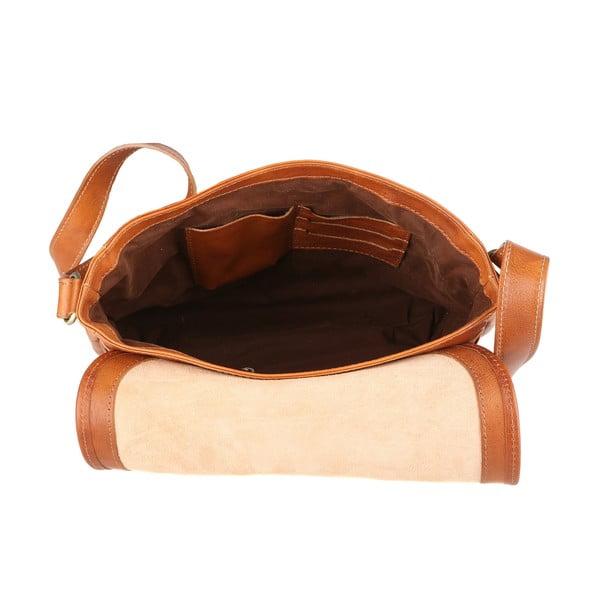 Koňakovohnedá kožená taška Chicca Borse Norma