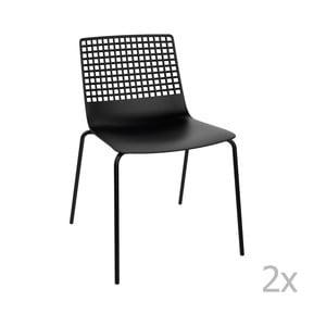 Sada 2 čiernych záhradných stoličiek Resol Wire
