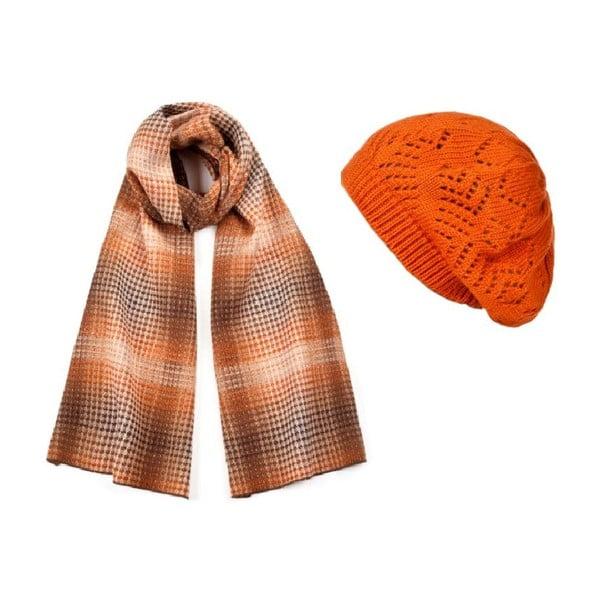 Oranžová čiapka so šálom Lavaii Elegant