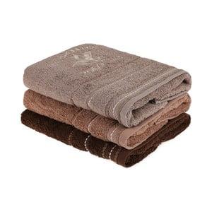 Sada 3 hnedých uterákov na ruky do kúpeľni, 90 x 50 cm