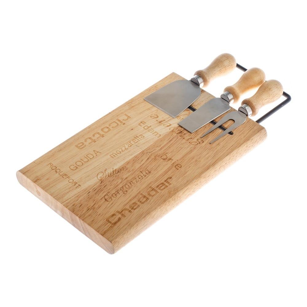 Set bambusovej servírovacej nádoby na syr a 3 nože Dakls Cheesy