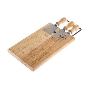 Set bambusovej servírovacej doštičky na syr a 3 nožov Dakls Cheesy