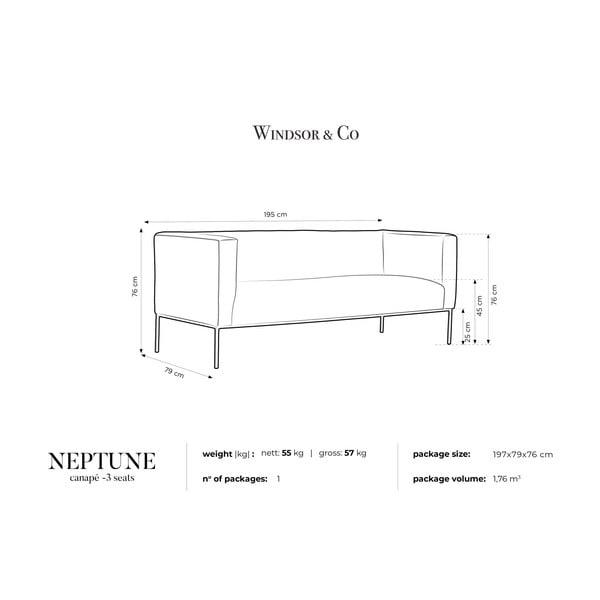 Tyrkysovomodrá trojmiestna pohovka Windsor & Co Sofas Neptune