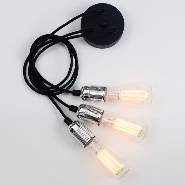 Závesné svietidlo s 3 čiernymi káblami a striebornou objímkou Bulb Attack Uno Group
