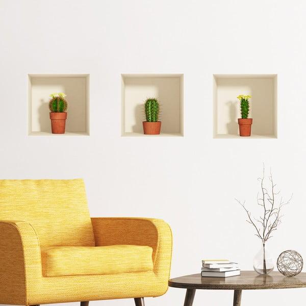 Sada 3 samolepiek s 3D efektom Ambiance Cactus