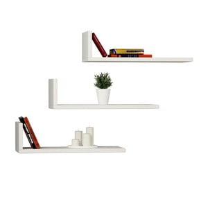 Sada 3 bielych nástenných políc na knihy Homemania L Model