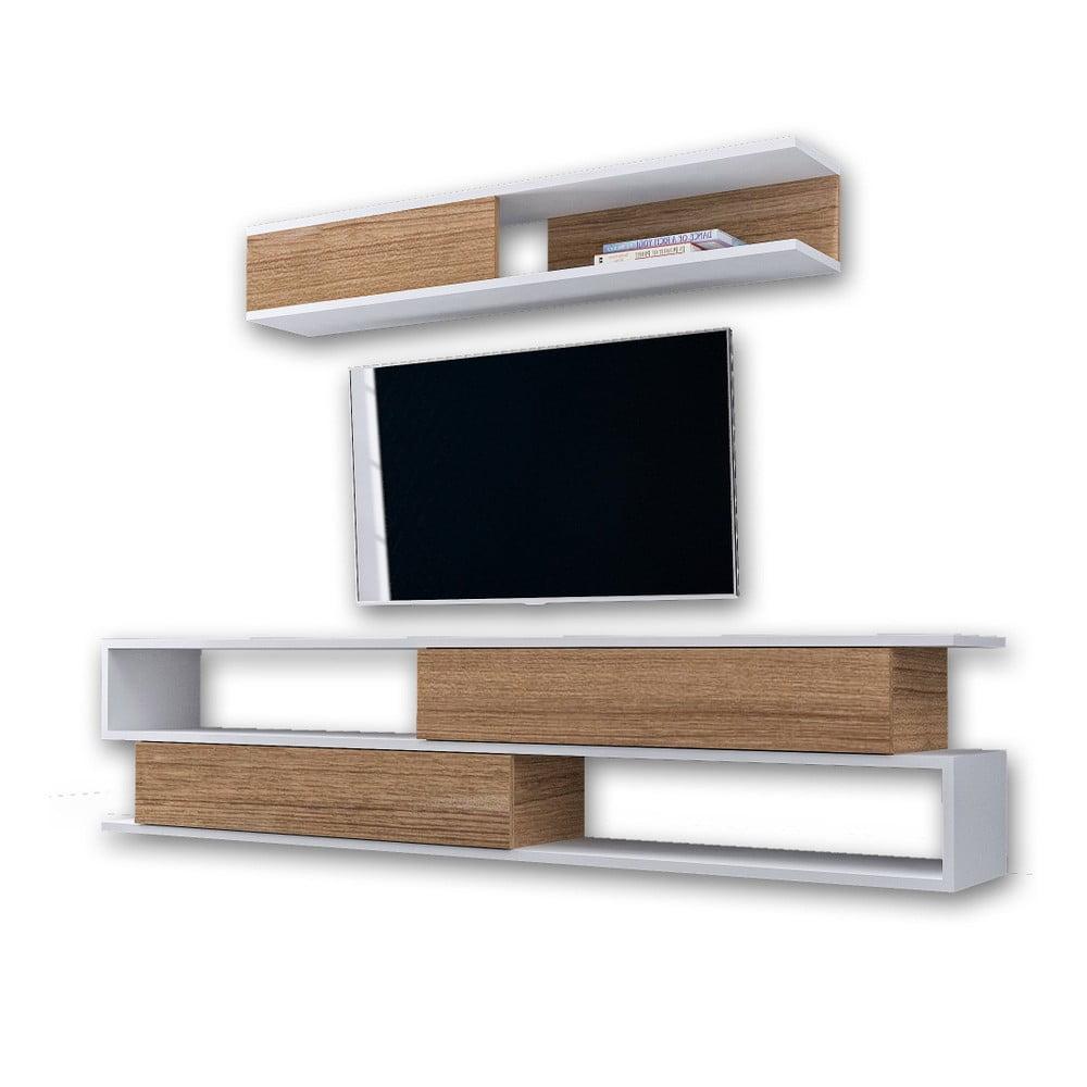Set bielej TV komody a nástennej police v dekore orechového dreva Manyetik