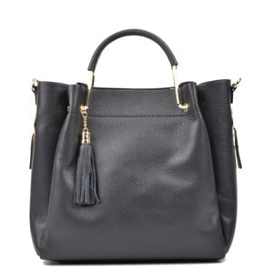 Čierna kožená kabelka Carla Ferreri Matna