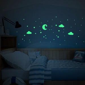 Svietiace samolepky na stenu Ambiance Moon and Clouds