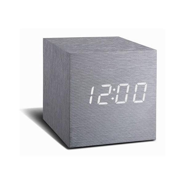 Sivý budík s bielym LED displejom Gingko Cube Click Clock