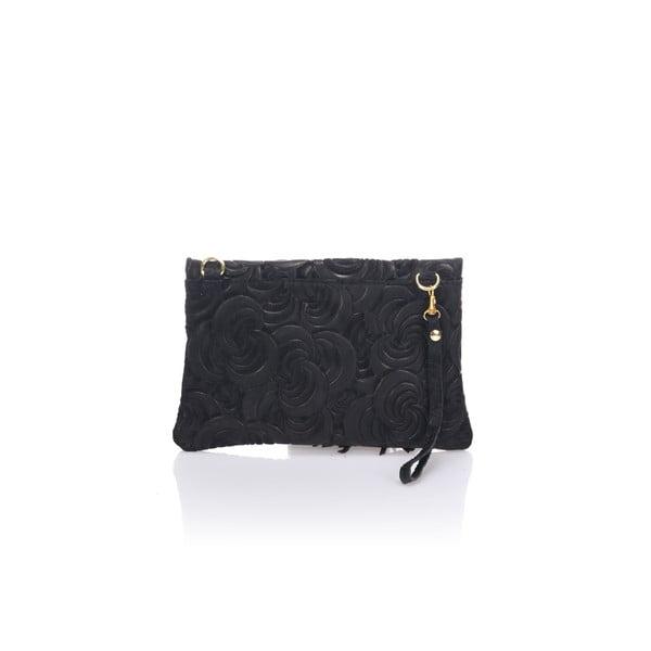 Čierna kožená listová kabelka Lisa Minardi Silvia