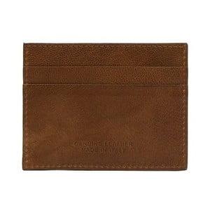Koňakovohnedá pánska kožená peňaženka na bankovky a vizitky Billionaire, 8 × 10 cm