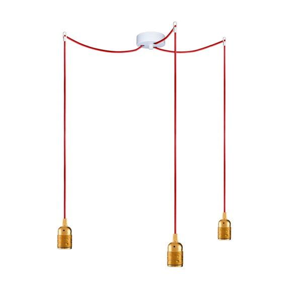 Tri závesné káble Uno, zlatá/červená/biela