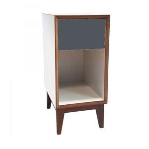 Malý nočný stolík s bielym rámoma grafitovou zásuvkou Ragaba PIX