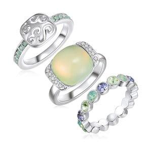 Sada 3 prsteňov s krištáľmi Swarovski Lilly & Chloe Océane, veľ. 60