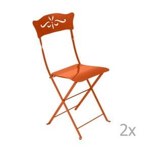 Sada 2 oranžových skladacích záhradných stoličiek Fermob Bagatelle