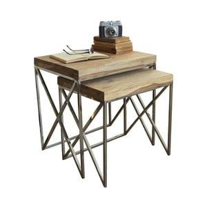 Sada 2 stolíkov s doskou z palisandrového dreva Sheesham Orchidea Milano Geometrical