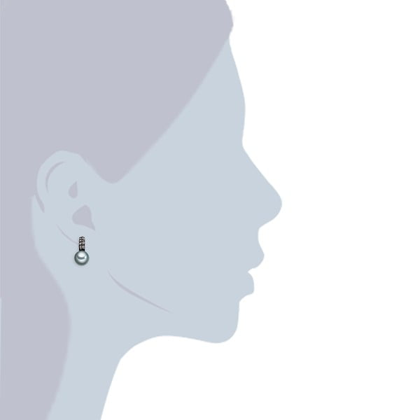 Náušnice s antracitovočiernou perlou Perldesse Aso, ⌀ 10 mm