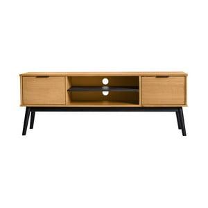 Hnedá TV komoda z borovicového dreva Marckeric Estela, 52 × 140 cm