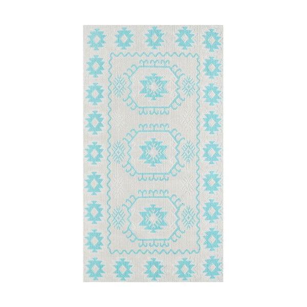 Modrý odolný koberec Vitaus Dahlia, 80x200cm