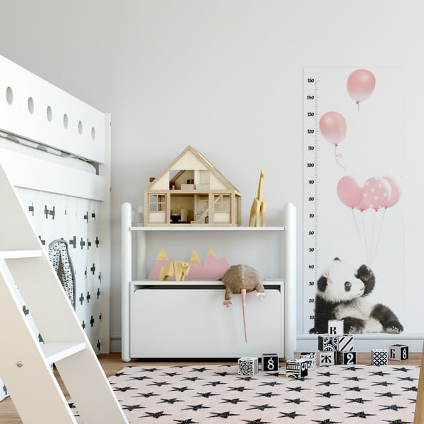 Nástenná samolepka s meradlom výšky Dekornik Pink Panda, 60×160 cm